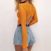 top,orange,bare back,open back,back,bare shoudler
