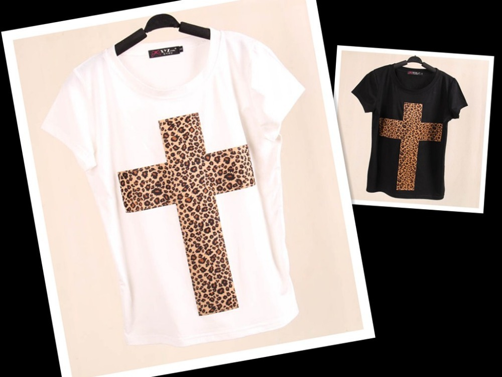2014 New Topic 1 3D Printed Leopard Cross T Shirt Women tees women type T shirts Short Sleeve quality Women's Printed T Shirts-in T-Shirts from Apparel & Accessories on Aliexpress.com