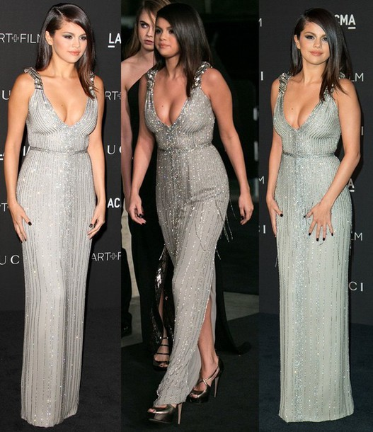 gown selena gomez grey sequin dress pretty plunge v neck silver dress
