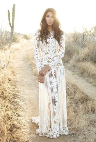 dress white dress summer dress long sleeves beautiful dress