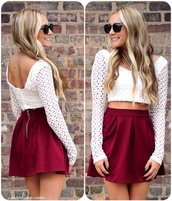 shirt,lace,see through,lacey shirt,white,vintage,long sleeves,girly,retro,hipster,skirt,sunglasses,jewels,burgundy,maroon/burgundy,red,red skirt,zip,outfit,clothes,fall sweater,fall outfits,crop tops,summer outfits,blouse