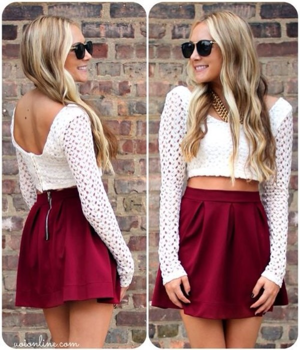 shirt lace see through lace lacey shirt white vintage long sleeves girly retro hipster skirt sunglasses jewels burgundy maroon/burgundy red red skirt zip outfit clothes fall sweater fall outfits crop tops summer outfits blouse