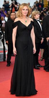 dress,julia roberts,red carpet dress,cannes,off the shoulder dress,bustier dress,black dress,prom dress
