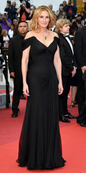 dress julia roberts red carpet dress cannes off the shoulder dress bustier dress black dress prom dress