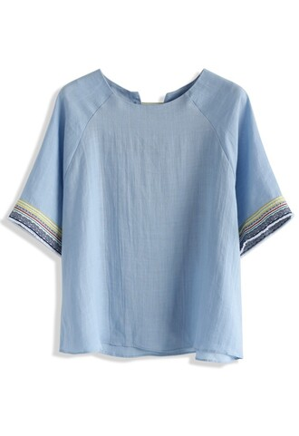 top boho top embroidered chambray top