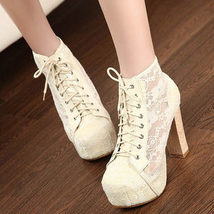 Womens high heels lace up hollow cool shoes rubber sole shoestring sandals 1m9