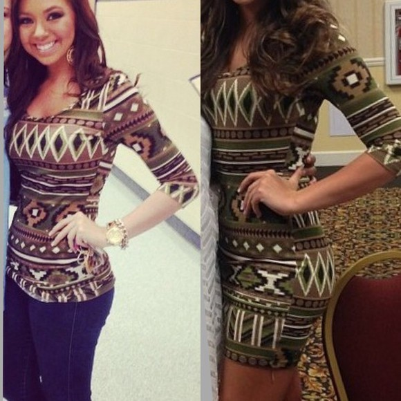 aztec tribal pattern three-quarter sleeves bodycon dress