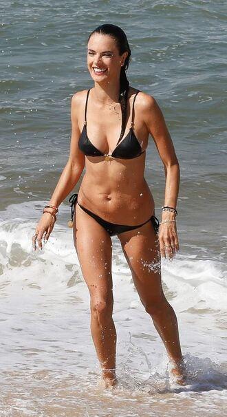swimwear bikini bikini top bikini bottoms alessandra ambrosio beach summer