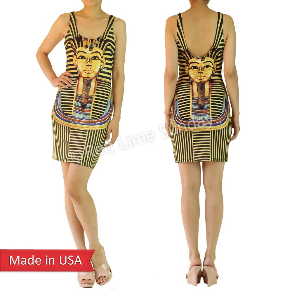 New Bodycon King Tut Egyptian Face Print Gold Black Stripe Tank Mini Dress USA