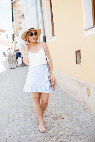 skirt ruffle hem skirt summer hat tank top sandals crossbody bag blogger blogger style