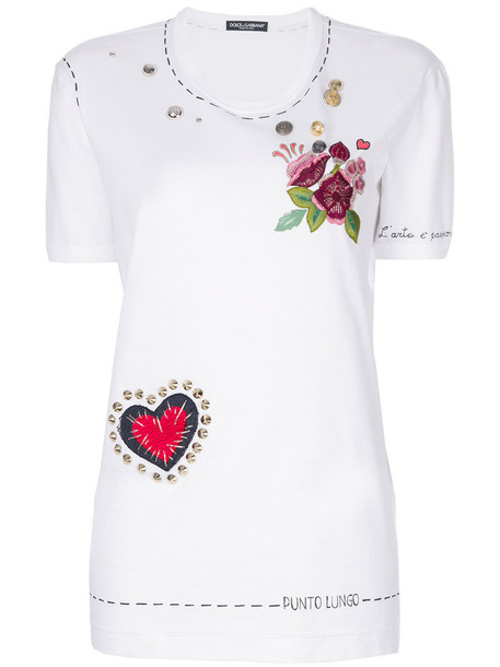 Dolce & Gabbana t-shirt shirt t-shirt women embellished white cotton top