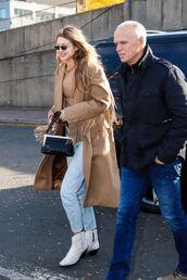 jeans,camel coat,camel,model off-duty,boots,denim,gigi hadid