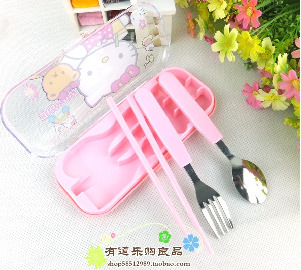 Cute hello kitty spoon fork and chopstick set japan