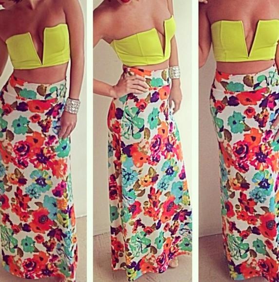 maxi skirt crop tops floral skirt neon