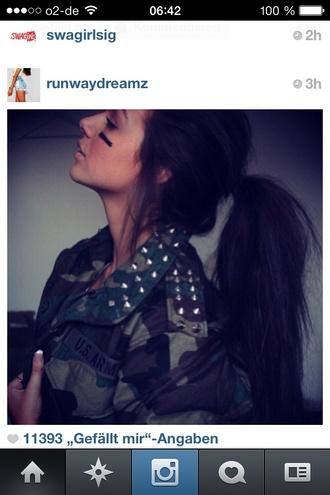 jacket camouflage camouflage military camo jacket camouflage green army green jacket studded studded jacket ponytail