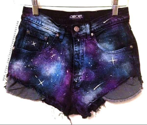 shorts galaxy print cute High waisted shorts fashion love summer