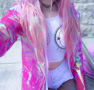 coat jacket holographic grunge cyber crop tops high waisted shorts pink jacket pink shiny raincoat windbreaker