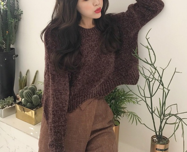 sweater girly knitwear knit knitted sweater brown fall outfits fall sweater crop cropped sweater