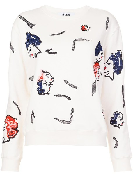MSGM sweatshirt women white cotton print sweater