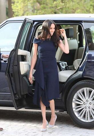 dress midi dress navy navy dress pumps spring dress meghan markle asymmetrical asymmetrical dress