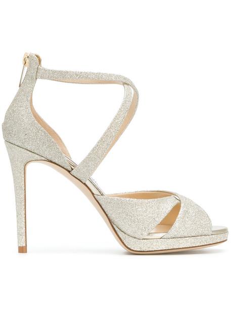 Jimmy Choo glitter women 100 sandals leather grey metallic shoes