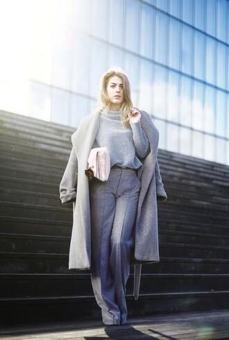 the stilettoholic blogger sunglasses bag shoes belt jewels grey boyfriend coat winter outfits