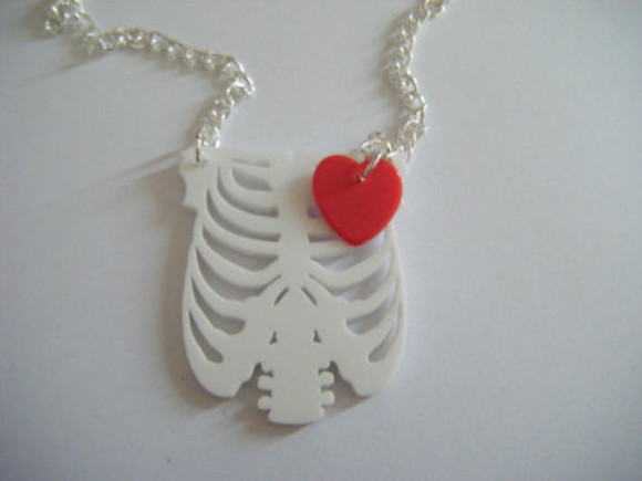 anatomical heart heart jewels necklace red white silver bones pendant chain skeleton instagram