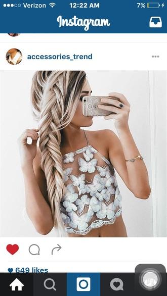 shirt butterfly white nude tank top halter top crop tops cute summer