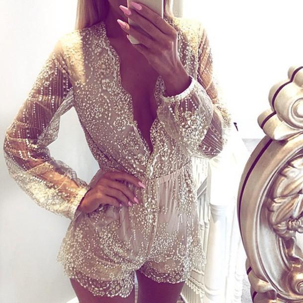 92c8852b0d romper romper towie nude dress mesh glitter sequins cute dress cute outfits  sexy dress lace romper