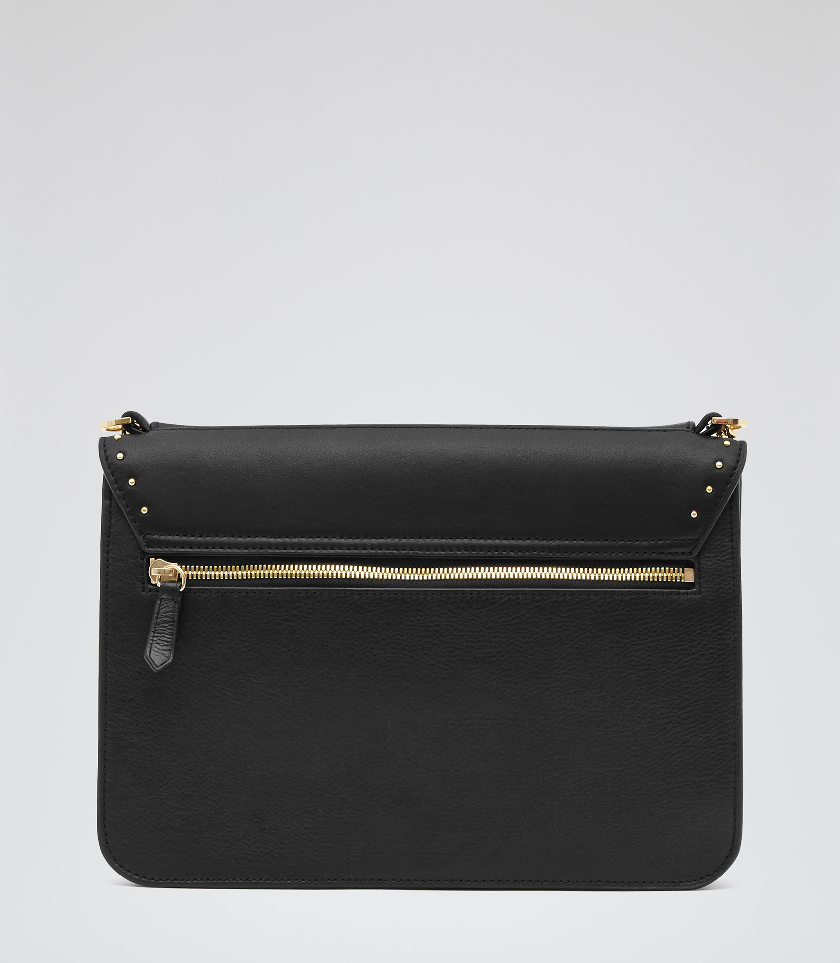 Tali Stud Black Studded Shoulder Bag - REISS