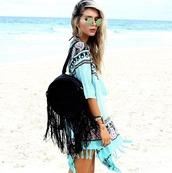 cardigan,gypsy mermaid,kimono,aqua,turquoise,boho,chic,boho kimono,boho chic,beach,cover up,swimwear,blue coverup,paisley,leather bag,fringed bag,bag