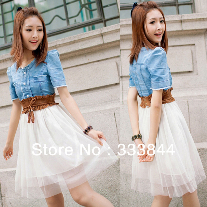 New Summer Cute Women's Girls Solid Short Sleeve Vintage Jean Blue Top White With Belt Bohemian Chiffon Dress, Y128-in Dresses from Apparel & Accessories on Aliexpress.com