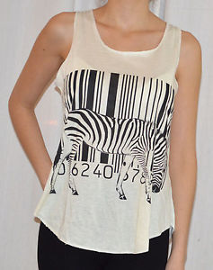 WOMEN STYLISH BAR CODE ZEBRA PRINT TANK TOPS/VEST IN CREAM COLOUR IN ONE SIZE | eBay