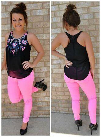 aztec tank top pink pants shirt blouse black chiffon neon pink chiffon blouse