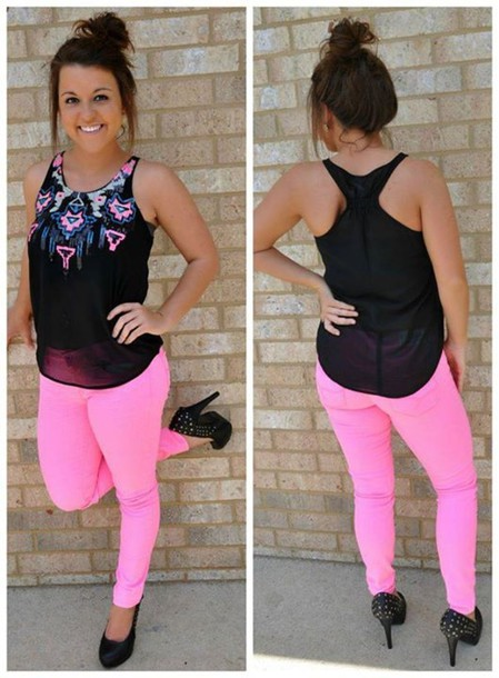 Neon Pink Chiffon Blouse 45