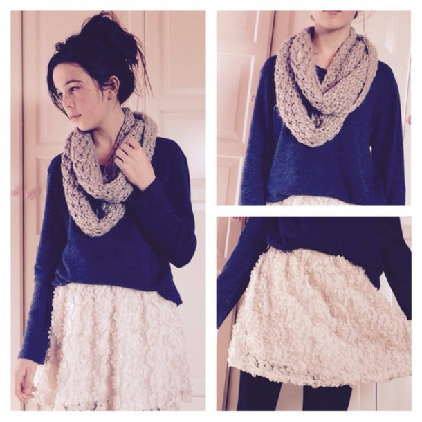 sweater skirt scarf messy bun