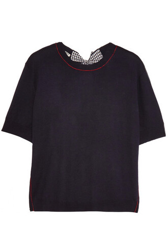 sweater wool sweater bow back embellished navy wool