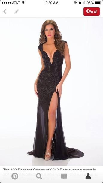 dress black long prom