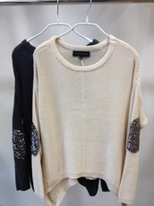 sweater,clothes,knitted sweater,sequins,white,pullover,lovely,oversized sweater,beige,elbow patches,sequin elbow patch,shiny,nude,jumper,long sleeves,black,shirt,glitter,blouse