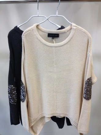 sweater clothes knitted sweater sequins white pullover lovely oversized sweater beige elbow patches sequin elbow patch shiny nude jumper long sleeves black shirt glitter blouse