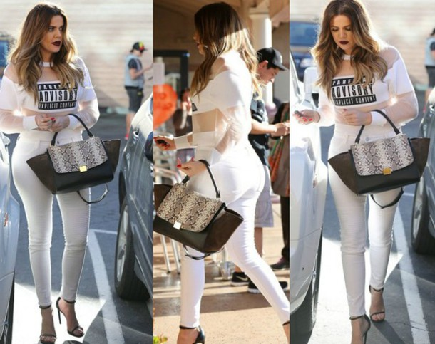Khloe Kardashian White Jeans - Shop for Khloe Kardashian White
