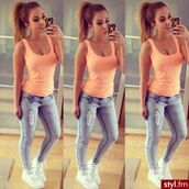 jeans,shoes,skinny,mighty,light,classy,light blue,top,t-shirt,clothes,white,girl,fashion,style,outfit,ripped jeans,skinny jeans,high waisted jeans,sports shoes,white shoes,white sports shoes,orange top,orange tank top,accessories,phone cover,phone