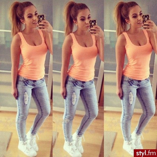 jeans shoes skinny mighty light classy light blue top t-shirt clothes white girl fashion style outfit ripped jeans skinny jeans high waisted jeans sports shoes white shoes white sports shoes orange top orange tank top accessories phone cover phone