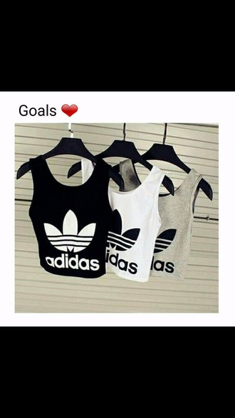 top black white grey adidas adidas shirt sleeveless sleeveless top black and white black and grey tank top adidas crop top