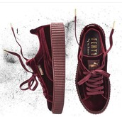 shoes,puma,puma fenty,fenty by rihanna,velvet creepers,creepers,plum,champagne,puma sneakers,puma x rihanna,puma creepers rihana,sneakers,rihanna,red,pink,marron,velvet shoes,velvet sneakers,clogs