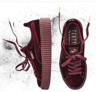 shoes puma puma fenty fenty by rihanna velvet creepers creepers plum champagne puma sneakers puma x rihanna puma creepers rihana sneakers rihanna red pink marron