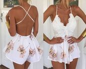 romper,soft pink,soft,lace up,lace,jumper,lace up jumper,lace romper,floral cross over,crossover strap,pink floral,one piece jumper,summer,pretty,summer romper,white,white romper,sleeveless,v neck,flowers,flowy