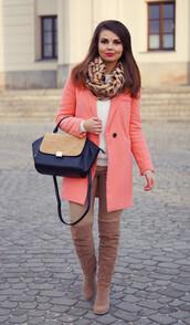 a piece of anna,blogger,coat,pants,knee high boots,suede boots,peach,handbag,shoes,bag
