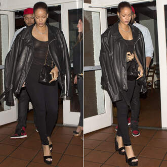jacket top jeans black jeans pants platform sandals rihanna