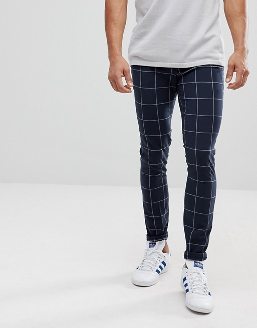 ASOS Super Skinny Smart Pants In Navy Check With Turn Up at asos.com